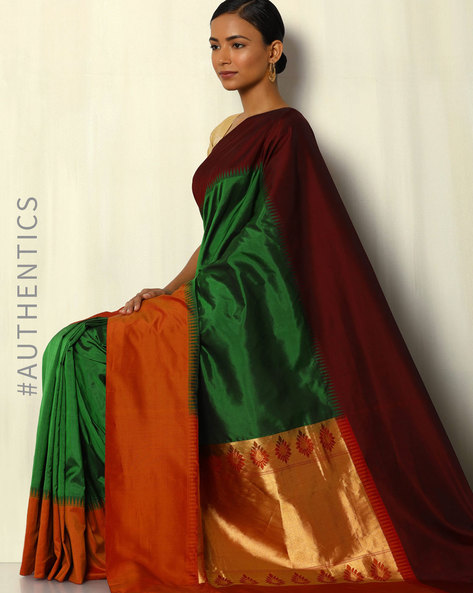 Pure Silk Bangalore Saree With Kadiyal Border By Pretty Woman ( Green )