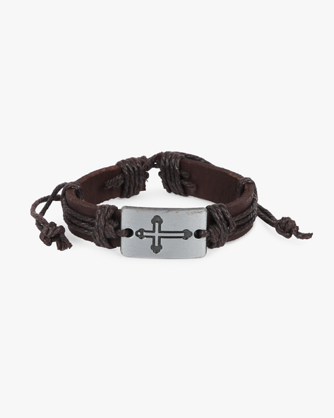 Leather Bracelet With Drawstring Fastening By ALPHA MAN ( Brown )
