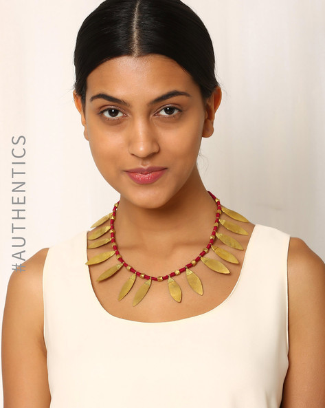 Handcrafted Dhokra Brass Necklace By Indie Picks ( Red )