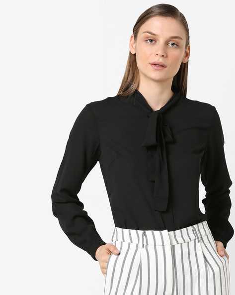 Top With Neck Tie-Up By Project Eve WW Work ( Black )