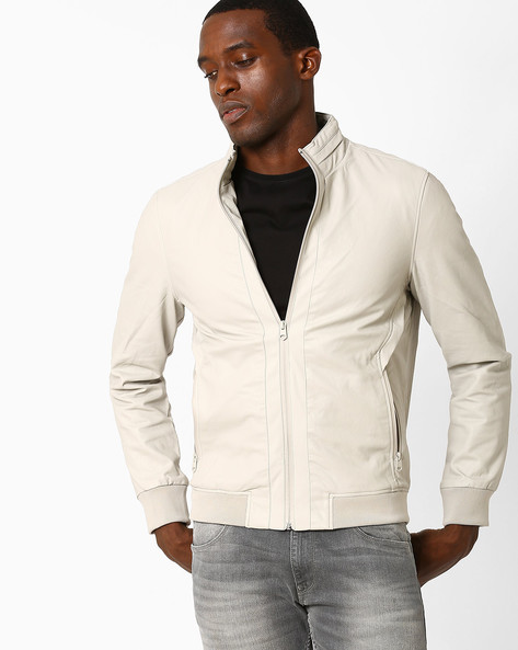 Regular Fit Jacket With Stand Collar By Celio ( Beige )