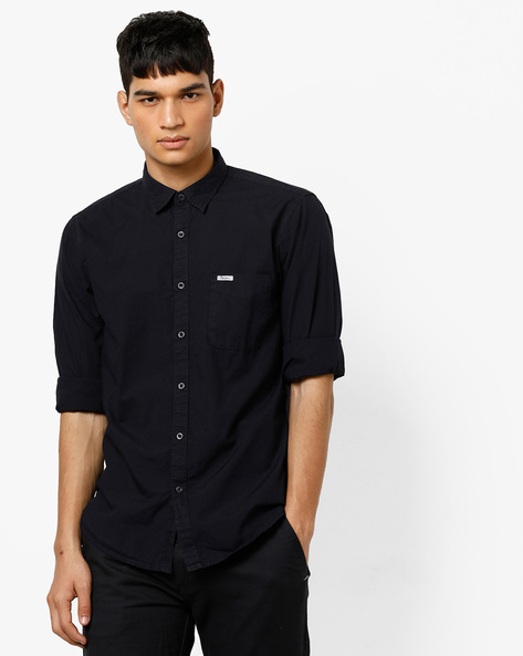 Cotton Shirt With Spread Collar By Pepe Jeans ( Navy )