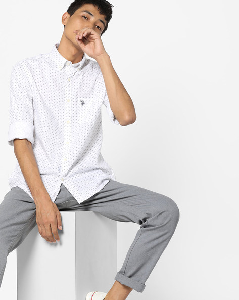 Printed Shirt With Curved Hem By US POLO ( White )
