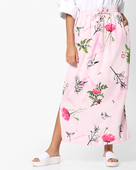 Floral Print Maxi Skirt By PE WW Casual ( Pink )