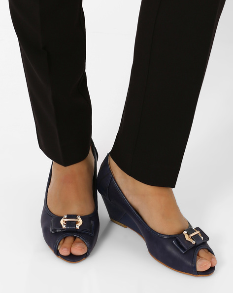 Peep-Toe Wedges By Jove ( Blue )
