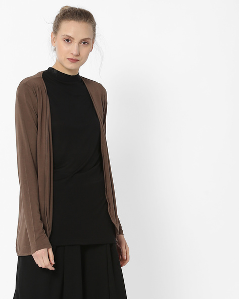 Open-Front Longline Shrug By Fame Forever By Lifestyle ( Olive )