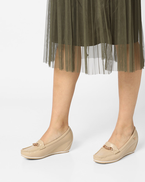 Slip-On Wedge Loafers By Carlton London ( Beige )
