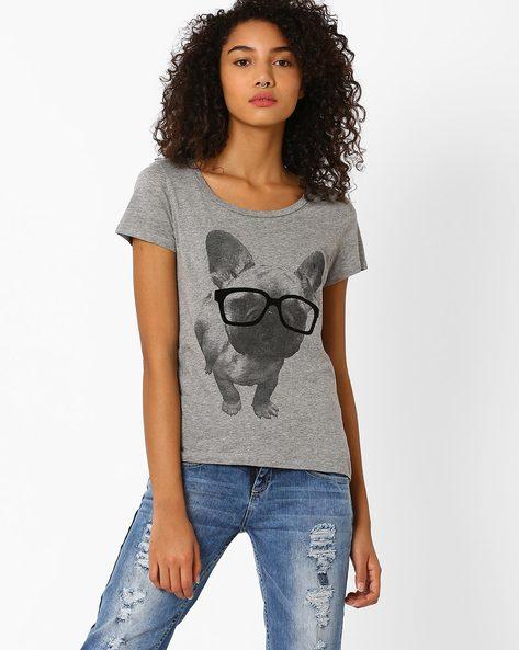 Graphic Print Cotton T-shirt By Vero Moda ( Grey )