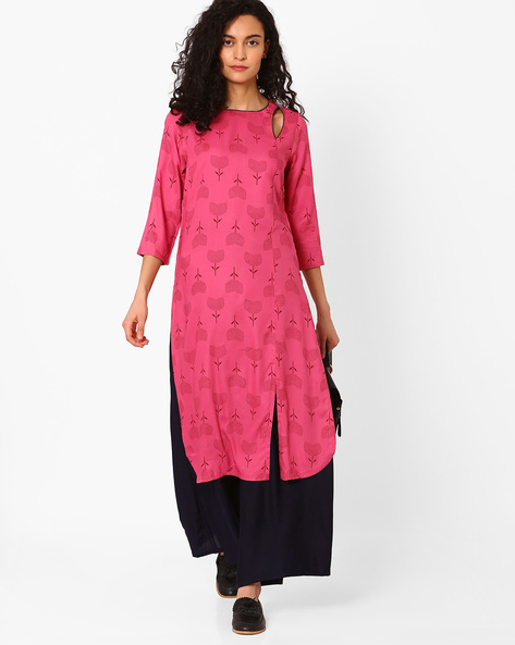 Printed Kurta With Front Slit By AJIO ( Fuchsia )