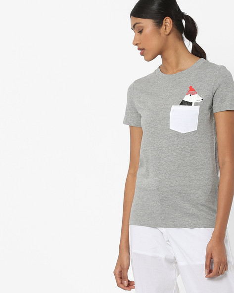 Crew-Neck T-shirt With Patch Pocket By Vero Moda ( Greymelange )
