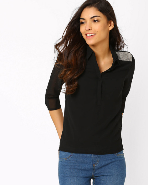 Top With Embellished Shoulder Overlays By SF Jeans By Pantaloons ( Black )
