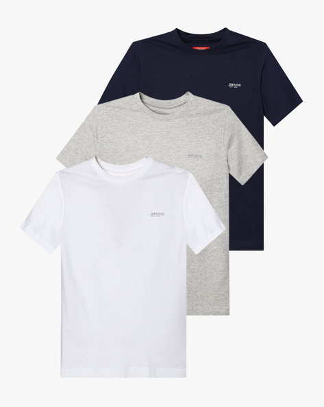 Pack Of 3 Slim Fit Crew-Neck T-shirts By JOHN PLAYERS ( Assorted )