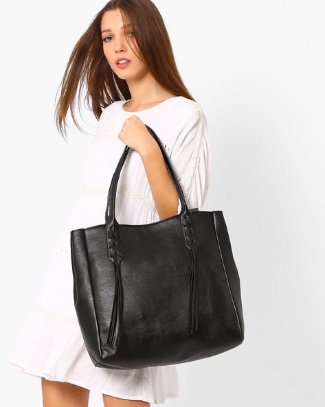 Faux-Leather Tote Bag With Tassels By AJIO ( Black )