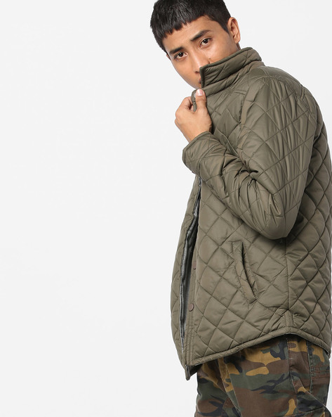 Quilted Collared Jacket By AJIO ( Olive )