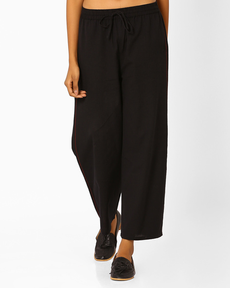 Mid-Rise Palazzos With Elasticated Waist By AJIO ( Black )