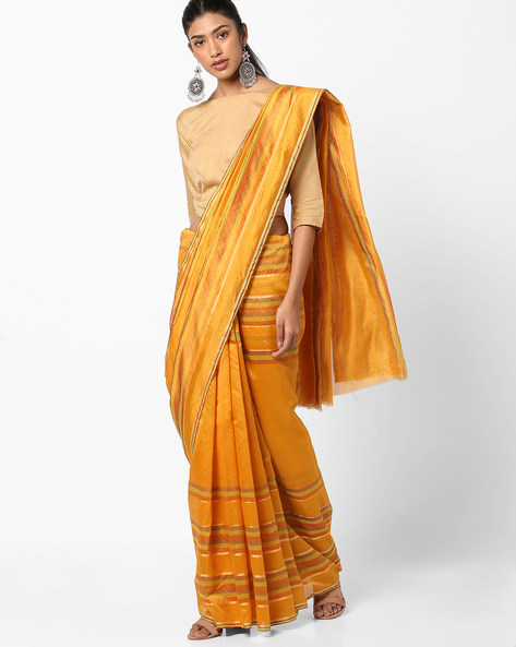 Striped Saree With Zari Border By Florence ( Yellow )