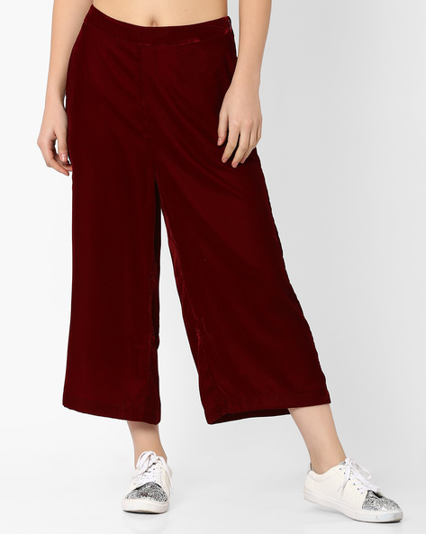 Velvet Culottes With Pockets By Evah London ( Maroon )