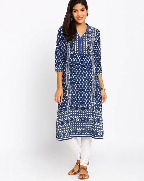 Printed Cotton Kurta By Jiyaa ( Blue ) - 460011954007