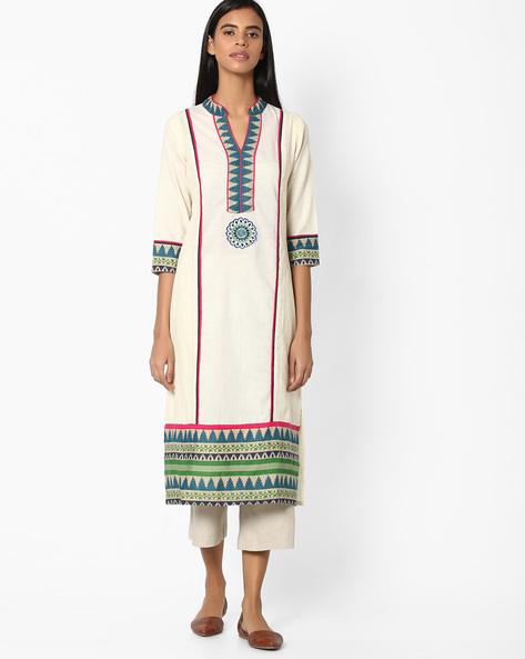 Printed Cotton Straight Kurta By Jiyaa ( Offwhite ) - 460049624001