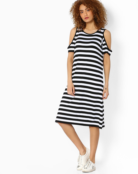 Striped Shift Dress With Cold-Shoulders By Ginger By Lifestyle ( Offwhite )
