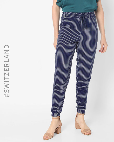 Striped Trousers With Drawstring Waist By TALLY WEiJL ( Blue )