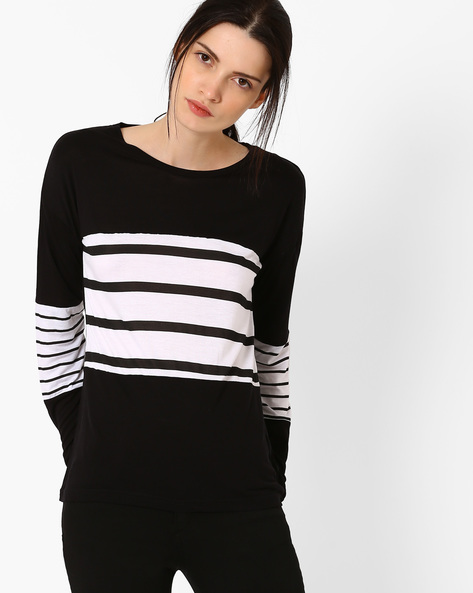 Panelled Striped Top By TEAM SPIRIT ( Black )