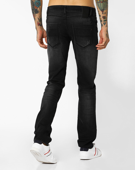 Slim Fit Jeans With Whiskers By JOHN PLAYERS ( Mediumblue ) - 440703903001
