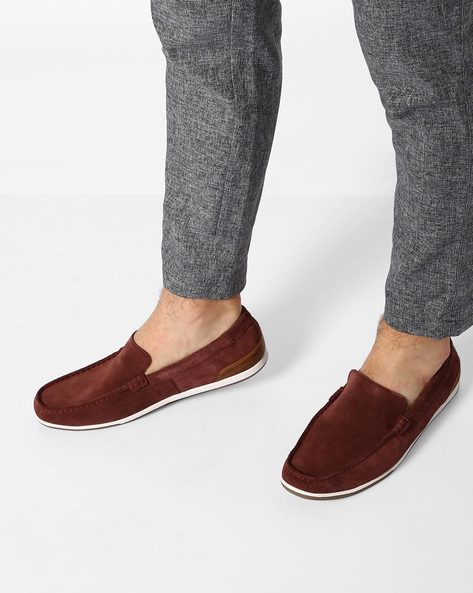 Leather Low-Top Casual Shoes By CLARKS ( Brown )