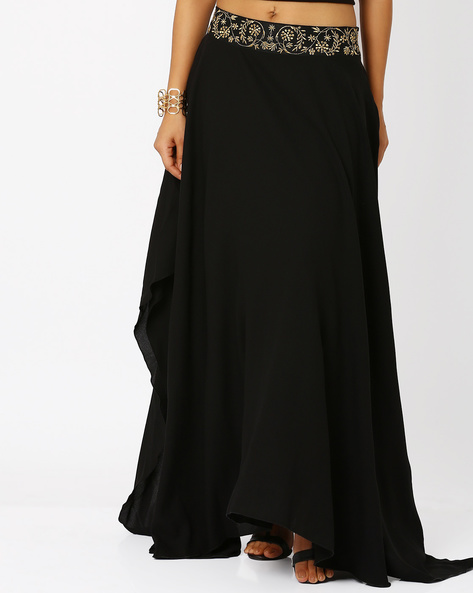 Flared Skirt With Embroidered Waistband By AJIO ( Black )