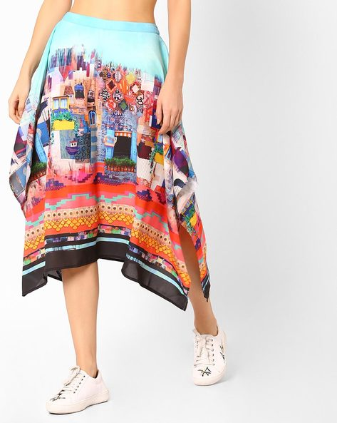 Graphic Print Midi Skirt By AJIO ( Aqua )