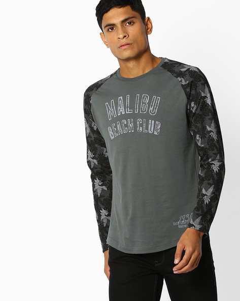 Tropical Print T-shirt With Raglan Sleeves By Teamspirit ( Charcoal )