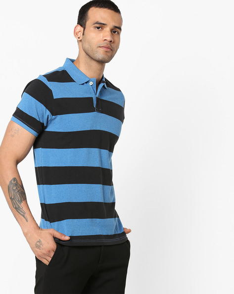 Slim Fit Striped Polo T-shirt By BASICS ( Blue ) - 460179383002