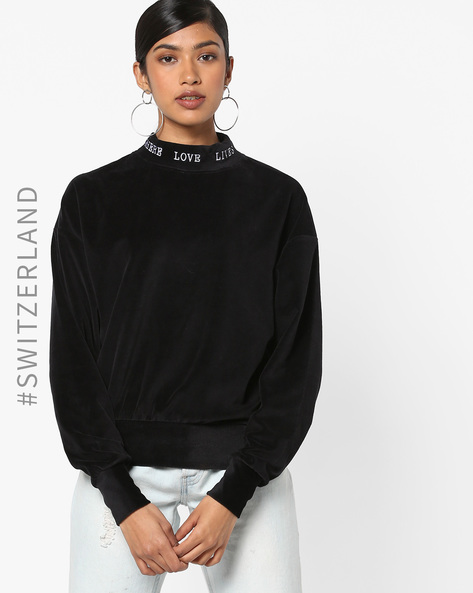 High-Neck Sweatshirt With Typography By TALLY WEiJL ( Black )