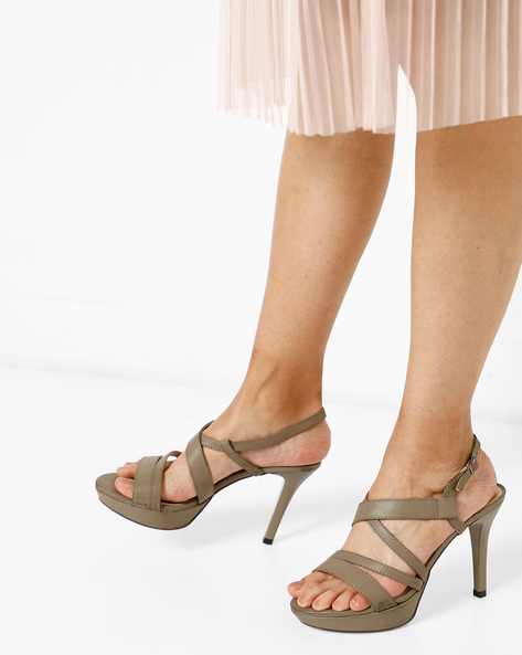 Strappy Stilettos With Buckle Closure By AJIO ( Grey )