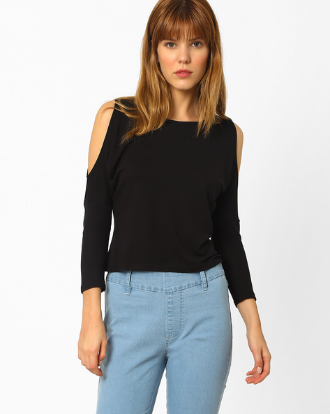 Cold-Shoulder Knit Top By And ( Black )