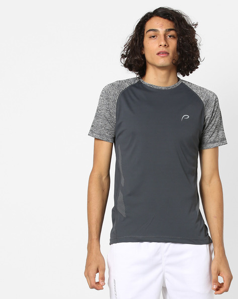 Crew-Neck T-shirt With Heathered Sleeves By PROLINE ( Darkgrey )