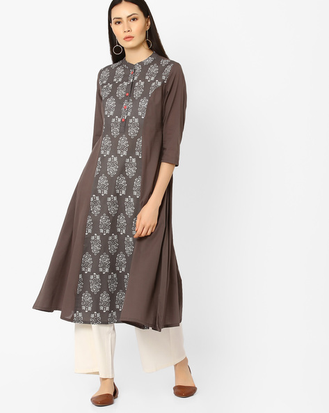 Block Print Kurta With Button Placket By AJIO ( Grey )