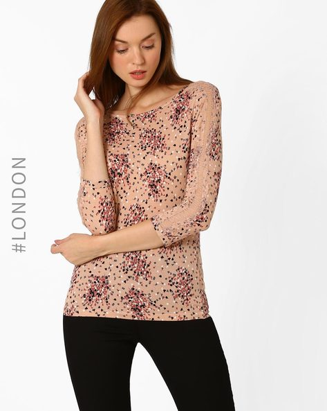 Floral Print Top With Lace Panels By Marks & Spencer ( Rose )