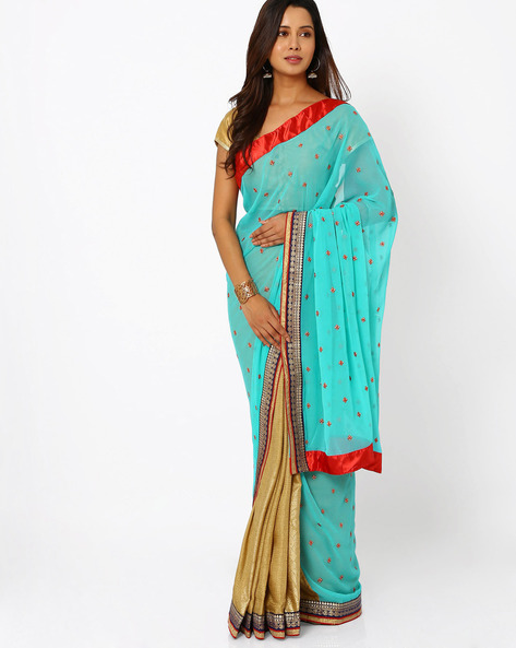 Embroidered Art Silk Half & Half Saree By Viva N Diva ( Aqua )
