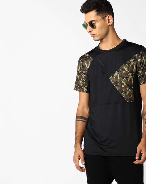 Slim Fit T-shirt With Camouflage Print Panels By ADAMO LONDON ( Black )