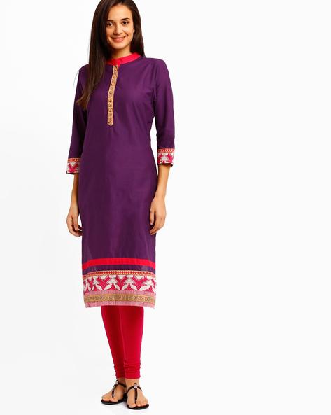 Kurta With Mandarin Collar By Tulsattva ( Purple )