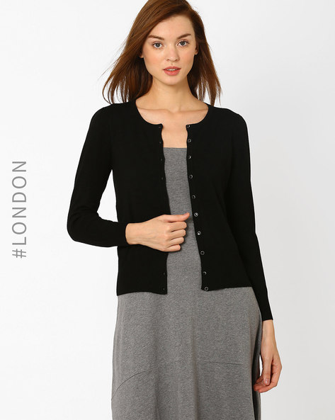 Button-Down Cardigan By Marks & Spencer ( Black )