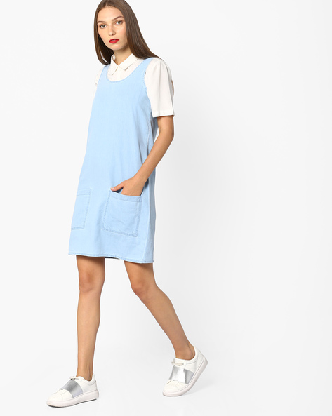 Sleeveless A-line Denim Dress By AJIO ( Lightblue )