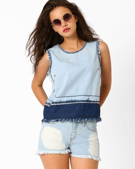 Colourblock Sleeveless Denim Top By AJIO ( Lightblue )