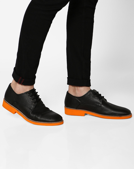 Genuine Leather Derby Shoes By Hats Off Accessories ( Black )