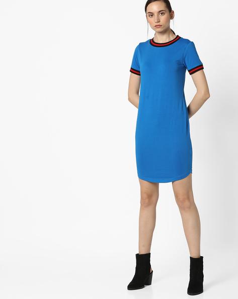 Jersey Dress With Curved Hemline By AJIO ( Blue )