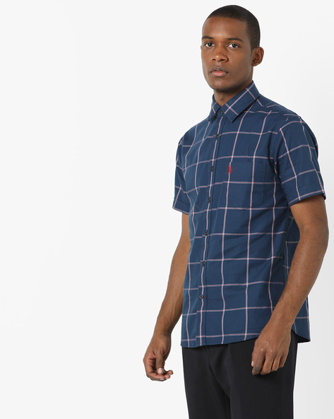 Checked Shirt With Patch Pocket By US POLO ( Navy ) - 460036173004