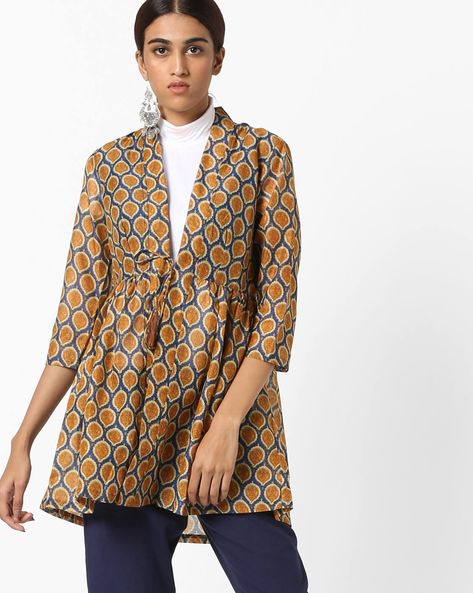 Printed Jacket With Tie-Up By AJIO ( Navyblue )