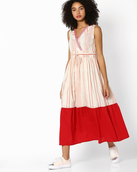 Embroidered Dress With Tie-Up By AJIO ( Rust )
