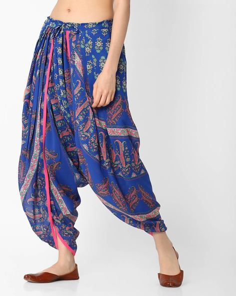 Paisley Print Dhoti Pants By AYAANY ( Blue )